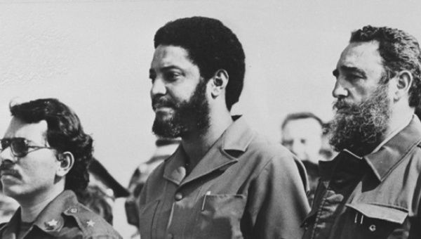 Grenadian revolutionary Maurice Bishop, center, with Cuba
