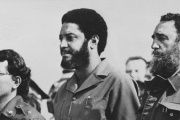 Grenadian revolutionary Maurice Bishop, center, with Cuba's Fidel Castro, right.