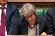 Britain's Prime Minister Theresa May after speaking at the British parliament Wednesday and announcing the action against Russia.