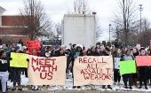 Students, teachers and faith leaders hold a rally in front of Smith & Wesson world headquarters in Springfield, Massachusetts, March 2018.