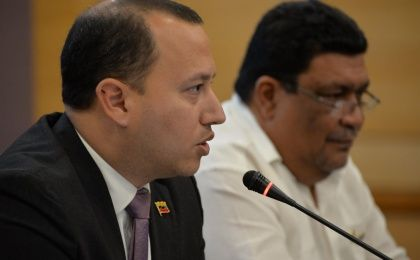 Raúl Licausi, Venezuela's Deputy Minister of Foreign Affairs for the Caribbean area, speaks at the opening of the II Conference of the Association of Caribbean States in Margarita, Venezuela on Wednesday.