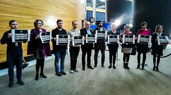 Members of the European Parliament protesting against the execution of Marielle Franco.