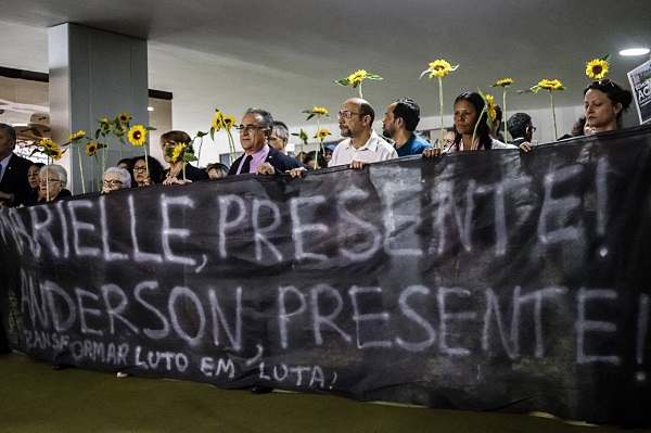 Parliamentarians and social movements do a solemn act at the House of Representatives in Brasilia, Brazil