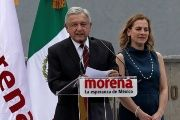 Lopez Obrador, accompanied by his wife, gives a speech after registering his candidacy.