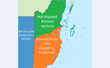 Map showing the disputed territory between Belize and the Republic of Guatemala.