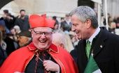 Cardinal Timothy Dolan and New York Mayor Bill de Blasio attend the St Patrick's Day parade in New York City.