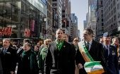 Irish Taoiseach Leo Varadkar marches with Governor Cuomo during the St Patrick's Day parade that took over Manhattan's Fifth Avenue.