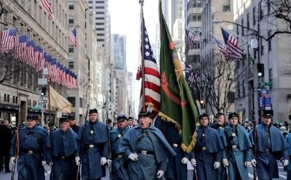 In New York, Manhattan's Fifth Avenue came alive with the sound of bagpipes, trumpets and drums as people marched through the city.