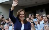 Margarita Zavala greets to her supporters after registering as an independent presidential candidate for the upcoming elections in Mexico City, Mexico.