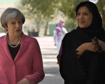 British Prime Minister Theresa May (L) with Saudi head of the women's section at the general authority for sports, Reema Bint Bandar al-Saud, during their meeting at Olympic headquarters in Riyadh, Saudi Arabia April 5, 2017.