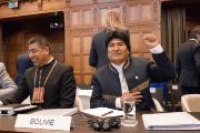 Bolivian President Evo Morales gestures as he arrives for the opening of hearings at the World Court in The Hague, Netherlands March 19, 2018.