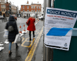 A police notice is attached to screening surrounding a restaurant which was visited by former Russian intelligence officer Sergei Skripal and his daughter Yulia.