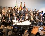 Bolivian President Evo Morales speaks at a news conference after the opening of hearings at the World Court in The Hague, the Netherlands March 19, 2018.