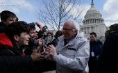 Senator Sanders greets students outside the U.S. Capitol during walk-outs in support of stricter gun laws in Washington.