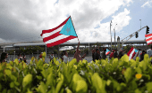 People march in support of becoming an independent nation as the U.S. island territory of Puerto Rico voted in favor of becoming the 51st state in 2017.
