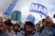 Bolivians gather in La Paz to rally in support of the maritime claim. The sign reads