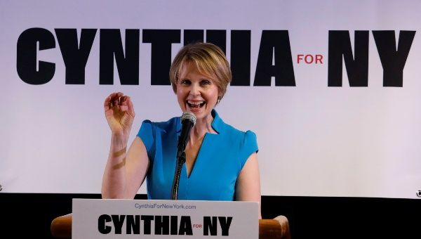 Actress Cynthia Nixon announces that she is running for Governor of New York at a campaign stop in Brooklyn, New York, U.S., March 20, 2018.