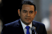 Guatemala's President Jimmy Morales speaks to the media after his arrival at Mariscal Sucre Airport in Quito, Ecuador May 23, 2017 ahead of Ecuadorean president inauguration.