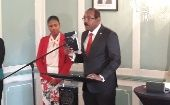 Gaston Browne takes the oath of office ahead of serving his second term as Prime Minister of Antigua and Barbuda.