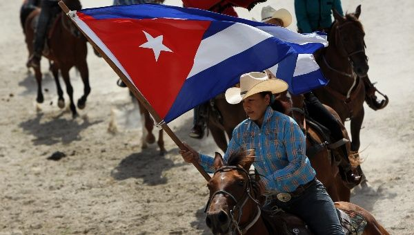 Rodeo participants during an exhibition at the Fiagrop inauguration ceremony in Havana, Cuba. March 15, 2014.