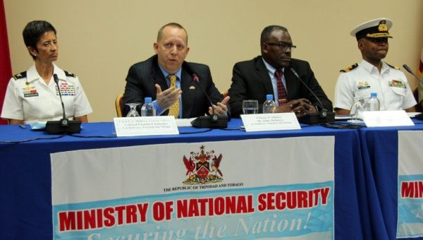 United States Chargé d'Affaires John McIntyre, second from left, speaking at the press conference to announce Exercise Fused Response with Edmund Dillon, second from right, Trinidad and Tobago´s Minister of National Security.