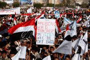 Houthi supporters attend a rally to mark the third anniversary of the Saudi-led intervention in the Yemeni conflict in Sanaa, Yemen March 26, 2018.