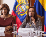 Colombian Foreign Minister, Maria Angela Holguin (l) and Ecuadorean Foreign Minister Maria Fernanda Espinosa (r) meet to discuss the kidnapping of journalist on Monday in Mataje, Ecuador along the border with Colombia. Colombian officials confirm FARC dissidents are responsible for the hostage taking.