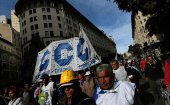 Union workers march during a demonstration against Argentine President Mauricio Macri