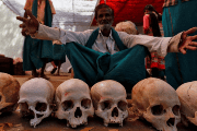 Farmers display skulls during a protest demanding relief from the government in New Delhi.