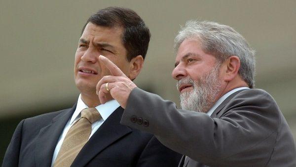 Former presidents Rafael Correa (left) and Lula da Silva