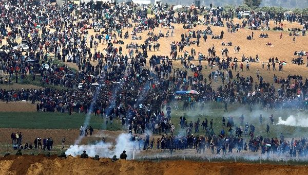 Israel breaching international law by dropping tear gas from drones inside Gazan territory on the March of Return is deplorable.