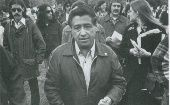 Cesar Chavez visiting a school named after him a year after its opening in Mount Angel, Oregon, 1974.