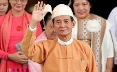 Newly elected Myanmar President U Win Myint after taking the oath in parliament in Naypyitaw, Myanmar.