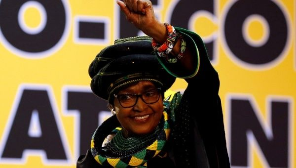 Winnie Madikizela Mandela gestures to supporters at the National Conference of ruling African National Congress in Johannesburg, South Africa Dec.16, 2017.