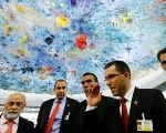 Venezuela's Foreign Minister Jorge Arreaza leaves after his address to the Human Rights Council at the U.N. in Switzerland Sept. 11, 2017.