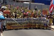 The Federation of Puerto Rican teachers marching in San Juan in March.