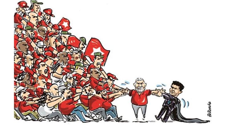 A través de una mirada caricaturesca, en Brasil han mostrado la lucha que se lleva en las calles en favor de Lula da Silva.