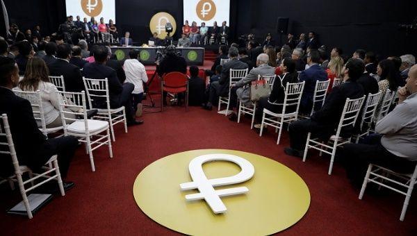"The Venezuelan cryptocurrency ""Petro"" logo is seen as Venezuela"