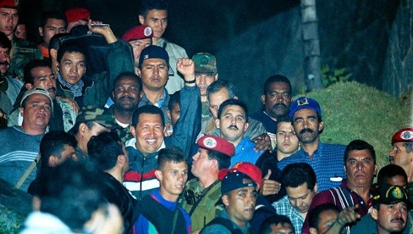 Late President Hugo Chavez was received by the people upon returning to Miraflores presidential palace.