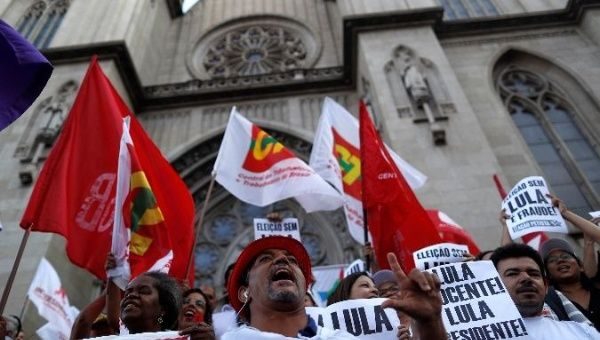 Lula supporters call for his freedom as they demosntrate in Sao Paulo, Brazil.