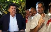 Efrain Alegre (l) during a press conference and Abdo Benitez (r) in a political rally.