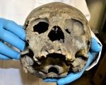 A skull from a person from the Tiahuanaco pre-Hispanical culture is shown at the Bolivian Cultures and Tourism Ministry.