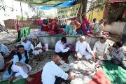 Villagers sit on a hunger strike demanding a Central Bureau of Investigation (CBI) probe into the rape and murder of an eight-year-old girl in Kathua district, south of Jammu, April 12, 2018.