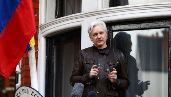 WikiLeaks founder Julian Assange speaks on the balcony of the Embassy of Ecuador in London, Britain, May 19, 2017.