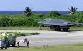 A U.S. warplane on the British Indian Ocean Territory of Diego Garcia island.