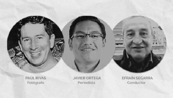 Journalist Javier Ortega, photographer Paul Rivas and driver Efrain Segarra were kidnapped on March 26 on Ecuador