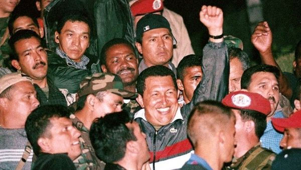 Former Venezuelan President Hugo Chavez, following the victory of the people against an attempted coup in April, 2002.