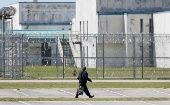 A guard leaves the Lee Correctional Institution in Bishopville, Lee County, South Carolina, U.S., April 16, 2018.