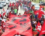 Members of the Workers' Party and Landless Workers' Movement protest in Brasilia.