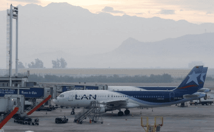 Airplanes belonging to LATAM Airlines (previously named LAN) are seen at the International Airport in Santiago, Chile during an indefinite strike of the Cabin Crew Union of LAN Express. April 10, 2018.
